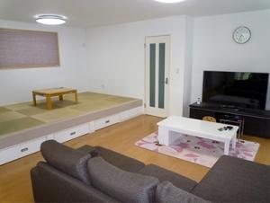 ▲床下収納付きの畳コーナーは腰掛けやすく、リビング横に配置することで家族団欒の場が広がります