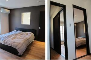 ▲ウォークインクローゼットと書斎、主寝室の3部屋が繋がるように扉を配置