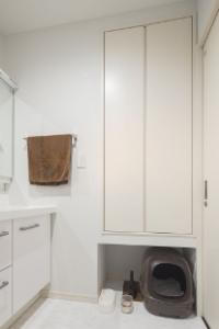 ▲ 洗面横の収納下はあえてオープンにし、猫のトイレスペースを設けた。