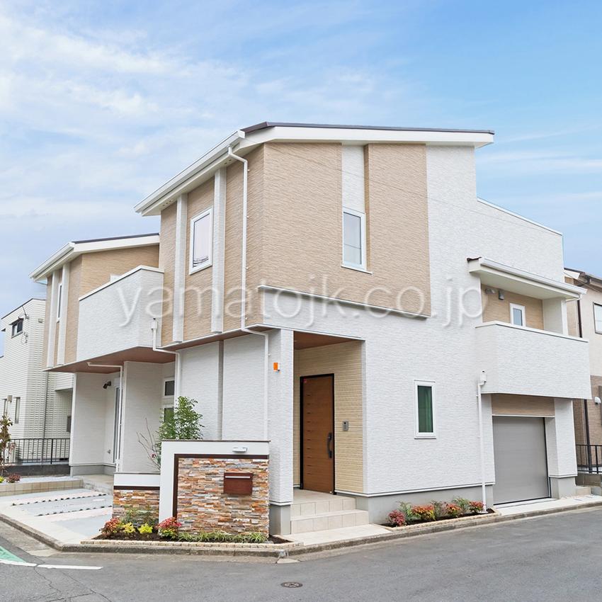 [神奈川県相模原市]ダブル断熱仕様でエアコン1台で全館空調するZEH(ゼロエネルギーハウス)ヤマト住建モデルハウスの外観