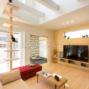 [神戸市北区]ダブル断熱仕様でエアコン1台で全館空調するZEH(ゼロエネルギーハウス)ヤマト住建モデルハウスのキャットタワーがあるリビング