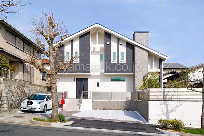 [神戸市北区]ダブル断熱仕様でエアコン1台で全館空調するZEH(ゼロエネルギーハウス)ヤマト住建モデルハウスの外観