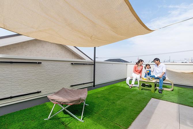 プライベート空間の屋上庭園
