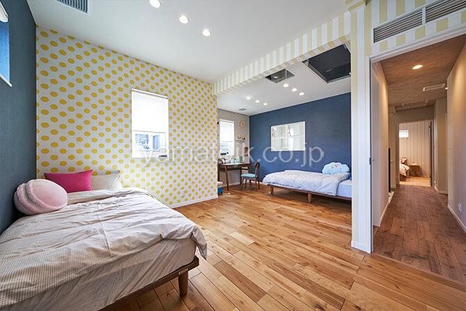 [埼玉県所沢市]ダブル断熱仕様のZEH(ゼロエネルギーハウス)ヤマト住建モデルハウスの将来間仕切りできる子供部屋