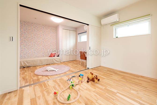 [大阪府泉南郡熊取町]高気密・高断熱でダブル断熱仕様のヤマト住建モデルハウスの将来間仕切りできる子供部屋